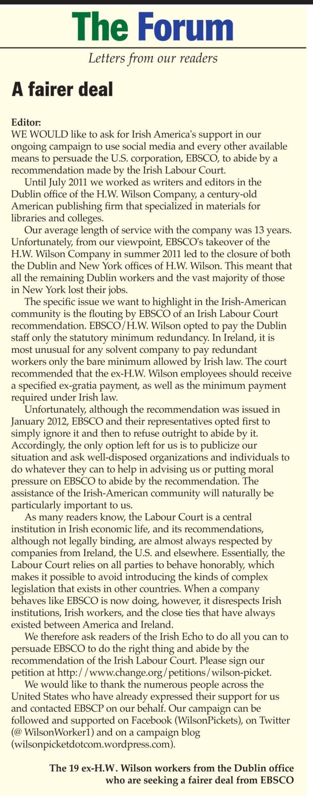 A letter in the latest edition of The Irish Echo